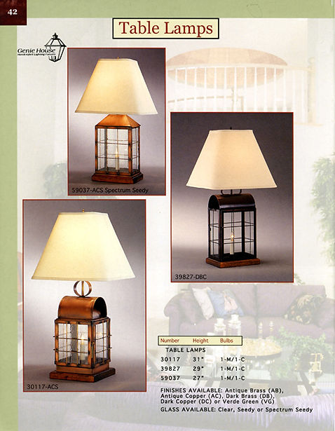 59037, 39827, 30117 Table Lamps, Table Lantern