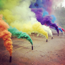 We blow colored smoke
