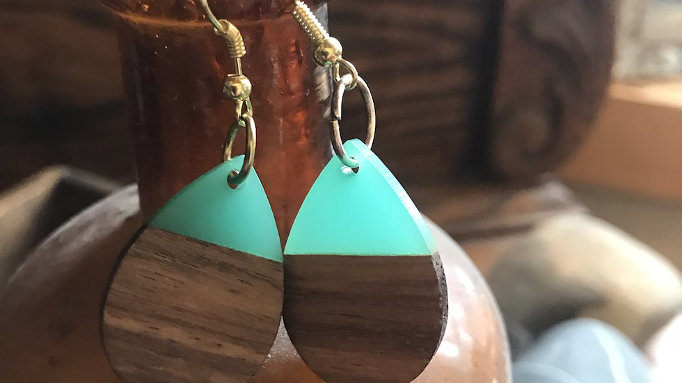 Teal Wooden Drop Earrings