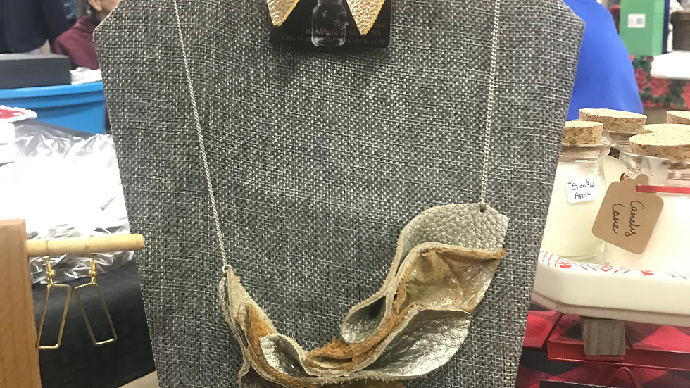 Leather Petal Necklace