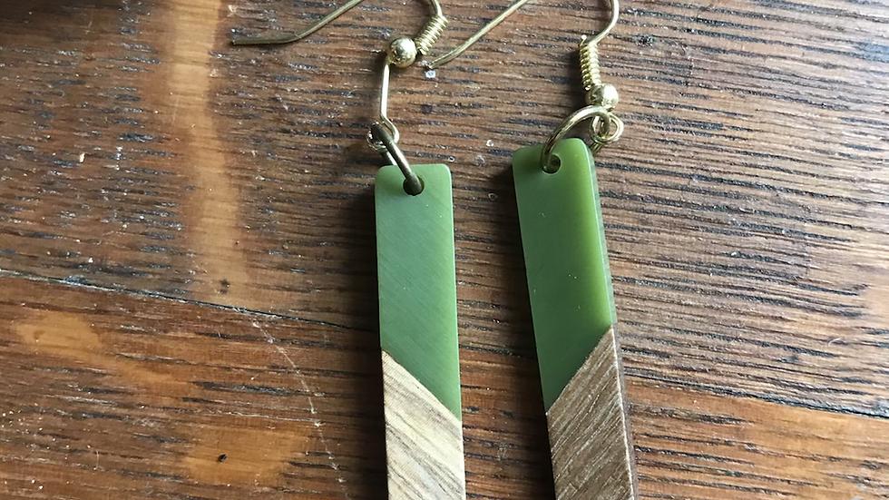 Green Wooden Long Earrings