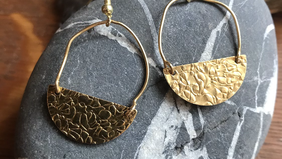 Hammered Gold Wire Earrings