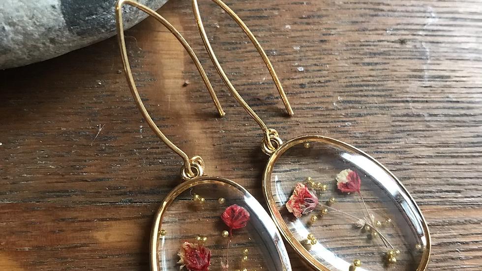 Pressed Flower Glass Earrings