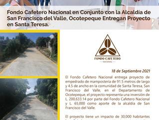 Fondo Cafetero Nacional y la Alcaldía de San Francisco del Valle, Ocotepeque entregan proyecto vial