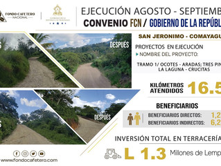 Boletín de ejecución de proyectos de FCN-Gobierno de la República en San Jerónimo Comayagua