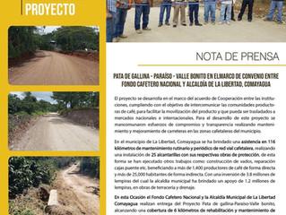 Fondo Cafetero Nacional Entrega proyecto en zona de Valle Bonito La Libertad Comayagua