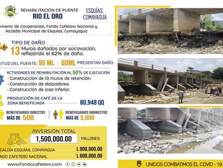 FCN y Municipalidad de Esquías, Comayagua realiza rehabilitación de puente Rio del Oro