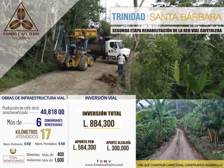 Fondo Cafetero Nacional realiza obras de terracería en Trinidad, Santa Bárbara