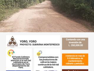 El Fondo Cafetero Nacional realiza importantes obras en el municipio de Yoro departamento de Yoro