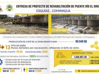 FCN ENTREGA DE PROYECTO DE REHABILITACIÓN DE PUENTE RÍO EL ORO ESQUÍAS, COMAYAGUA.