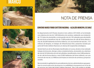 Fondo Cafetero Nacional en alianza con la Municipalidad de Danli realiza obras de carretera