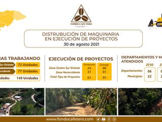 Distribución de nuestra Maquinaria en Ejecución de Proyectos a Nivel Nacional