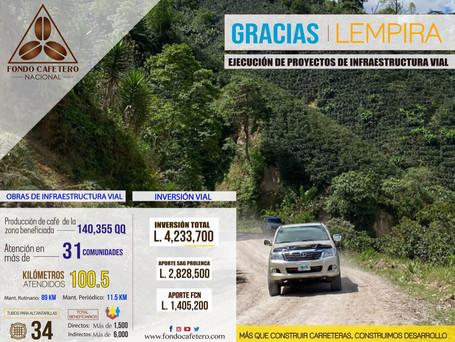 Fondo Cafetero Nacional realiza obras de mantenimiento en red vial de Gracias, Lempira