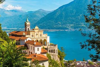 Historyeye | Locarno, Switzerland. Birthplace of Octave Fariola's father, Louis Fariola. View of Madonna del Sasso Church.