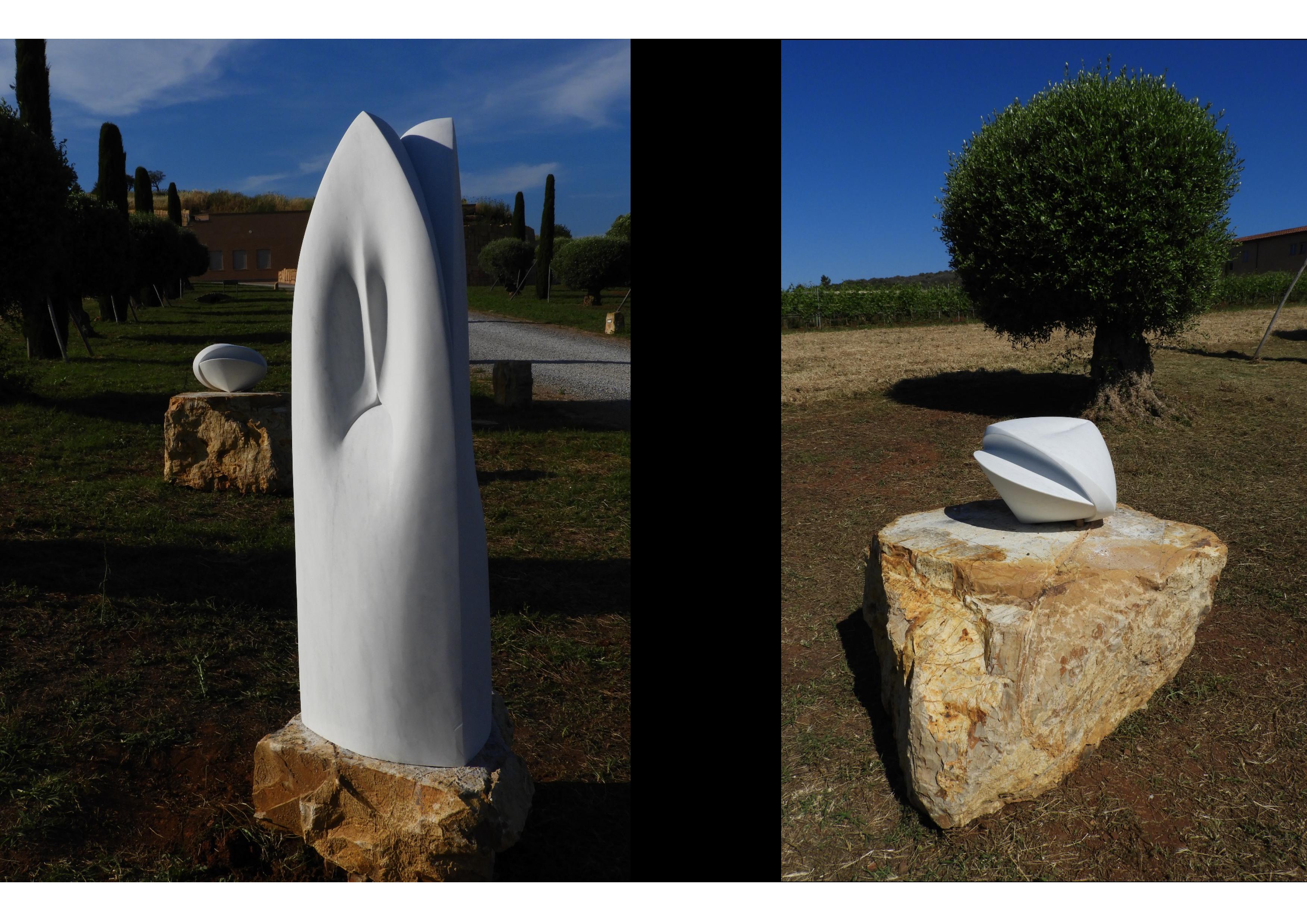 Hic et nunc  h 32 x 43 x 43 cm h 140 x 47 x 47 cm  marble  2018