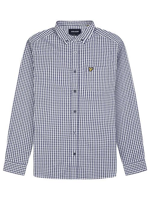 LYLE &SCOTT - Camicia check WHITE NAVY