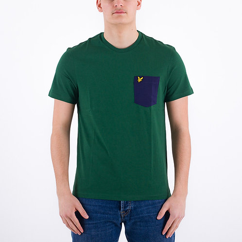 LYLE &SCOTT - T-shirt Taschino verde/blu