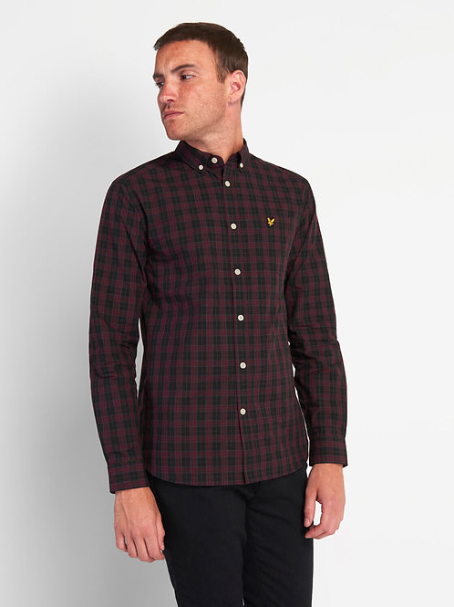 LYLE & SCOTT - Camicia check BLACK BURGUNDY
