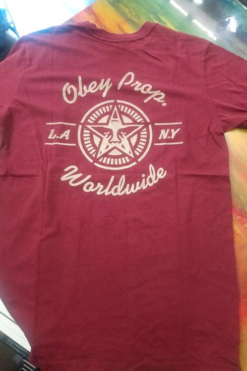 OBEY - T-shirt bordò
