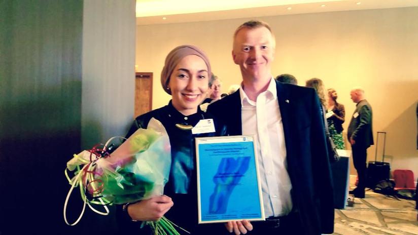 Marwa Mahmoud winning the Young Investigator Award at the 10th International Symposium on Biomechanics and Vascular Biology (Rotterdam 2015)