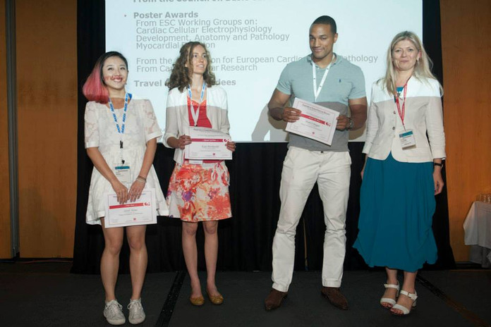 Dr Sarah Hsiao winning the Young Investigator Prize at the European Society of Cardiology FCVB meeting (Barcelona, 2014)