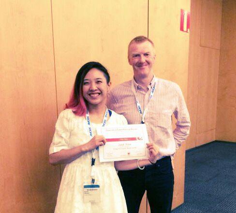 Paul congratulating Dr Sarah Hsiao on her ESC Young Investigator Award (Barcelona 2015)