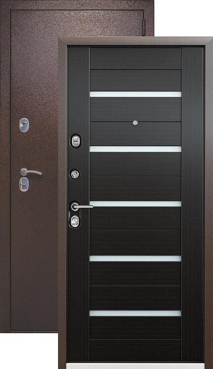 Металлическая сейф дверь Страж Kvadra-3K Techno (медный антик/венге)