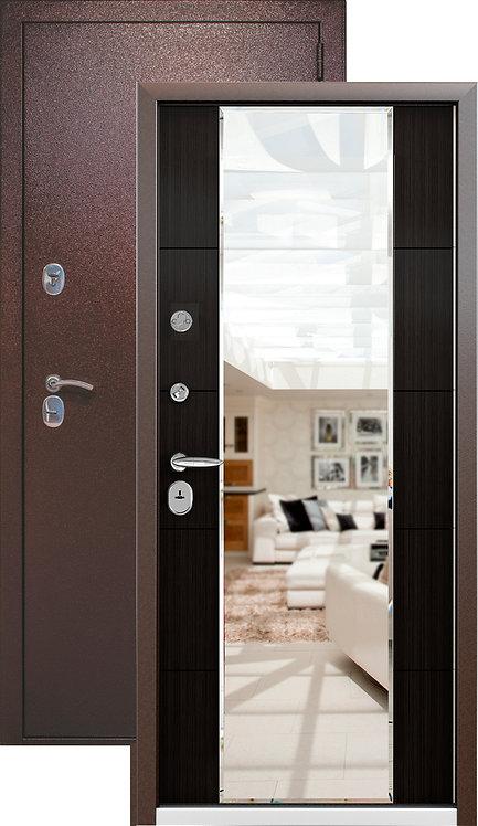Металлическая сейф дверь СТРАЖ  3К MIRROR  (медный антик/Меланж темный)