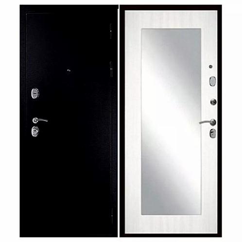 Металлическая сейф дверь Сударь 05 Нарцисс (зеркало) лиственница  белая