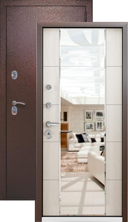 Металлическая сейф дверь СТРАЖ  3К MIRROR  (медный антик/Меланж светлый)