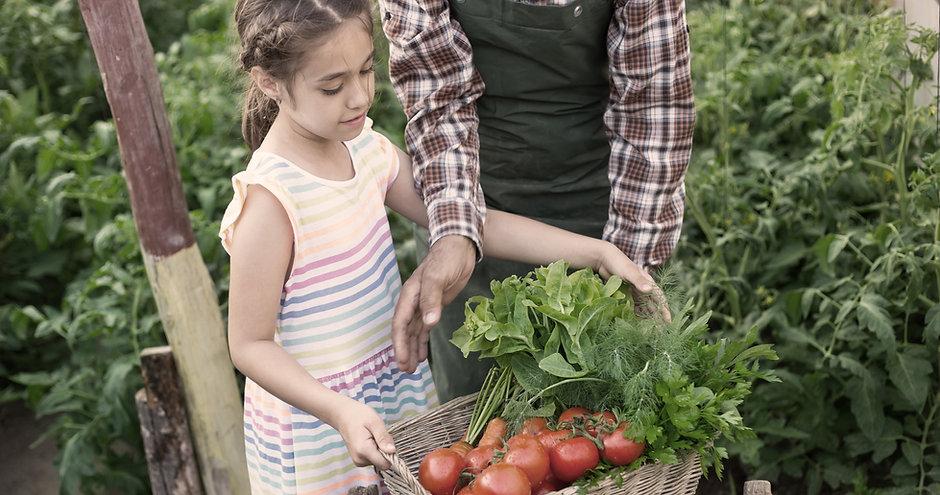 Niño llevando verduras