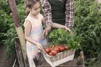 Kind, das Gemüse trägt