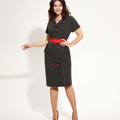 Платье черное красный пояс 4468