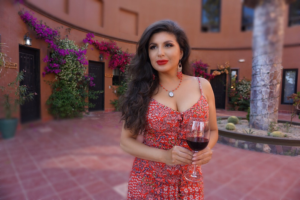 Valle De Guadalupe. Baja Wine Country. Hotel. Rose Bud. Woman. Wine. Red Dress.