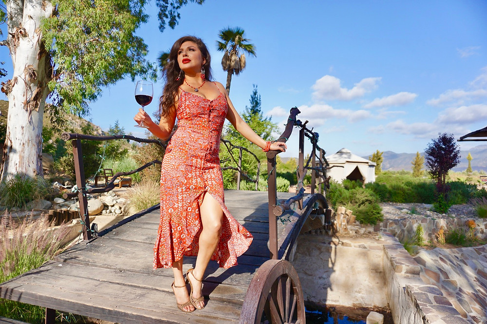 ROSE BUD. WOMAN. BAJA WINE COUNTRY. MEXICO. COUNTRYSIDE. RED DRESS. WOMAN.