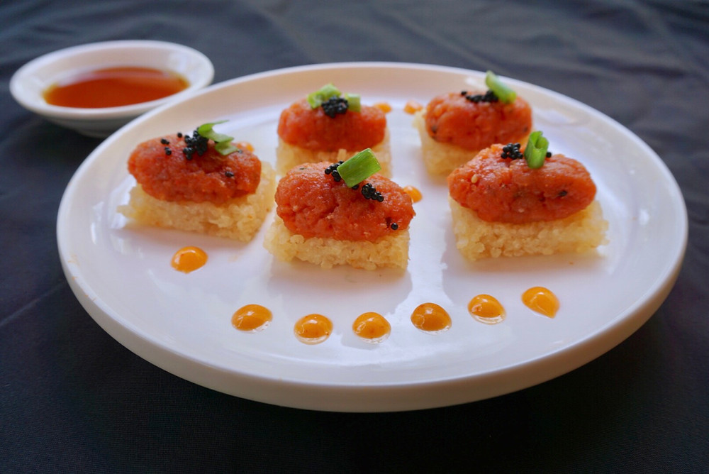 Spicy Tuna. Food. Restaurant. Dish. Menu. Rice Crispy. Sushi.