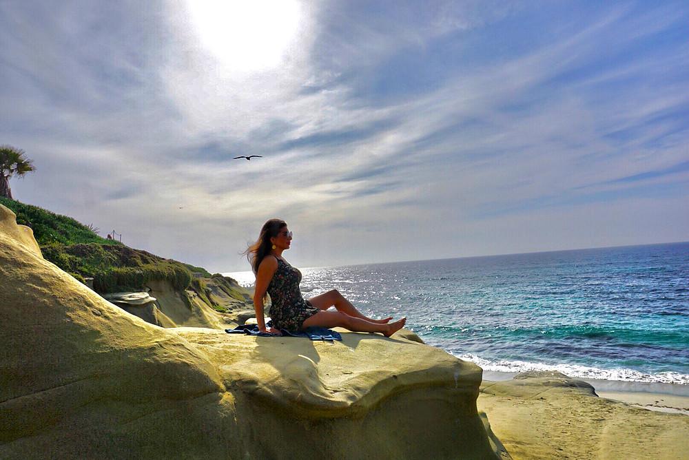 ocean, water, sea, La Jolla, San Diego, cove, rocks, woman, beach