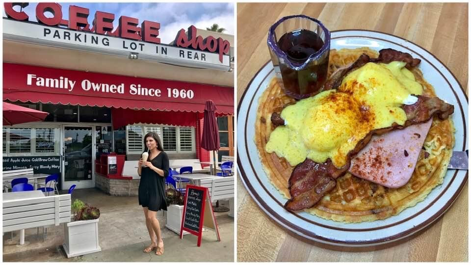 Food, diner, eggs, breakfast, ham, bacon, waffle, restaurant