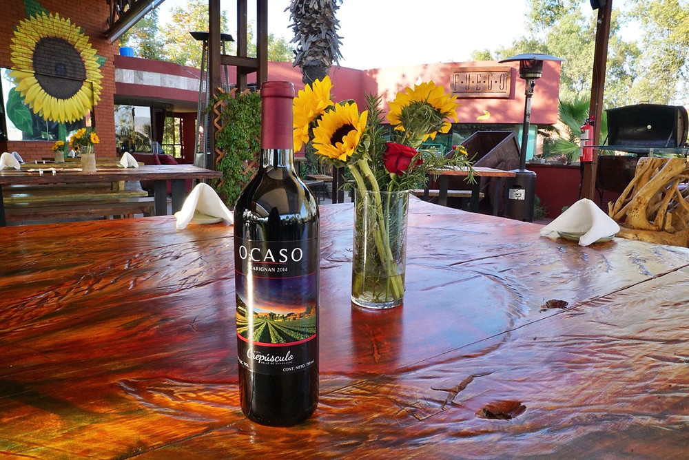 FUEGO COCINA DEL VALLE. RESTAURANT. BAJA WINE COUNTRY. SUNFLOWER. TABLE. COUNTRYSIDE. MEXICO.