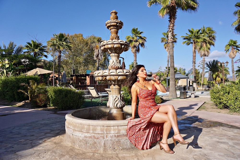 Valle De Guadalupe. Baja Wine Country. Hotel. Woman. Rose Bud. Wine. Water Fountain. Mexico.