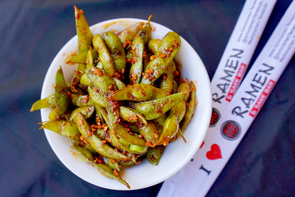 Edamame. Green Beans. Vegetable. Dish. Menu. Chopsticks. Appetizer. Restaurant.