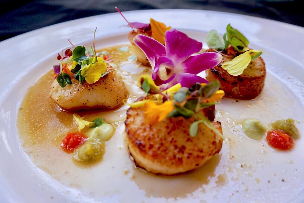 Scallops. Restaurant. Dish. Seafood. Yuzu. Wasabi. Temecula.