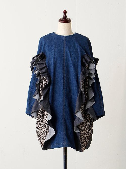 Chambray ruffle denim ×Leopard pattern dress