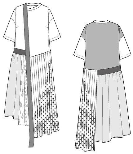 Import dot/leopard print pleated dress