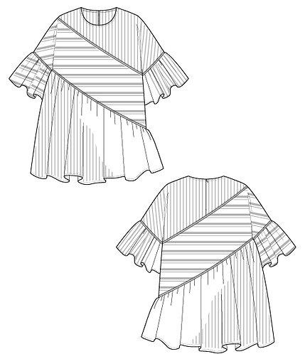 Stripe switching blouse