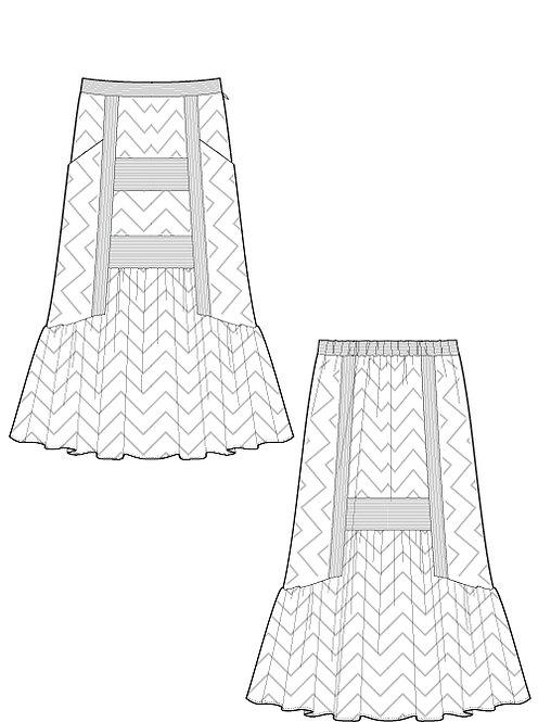 Jacquard herringbone stripe switching skirt