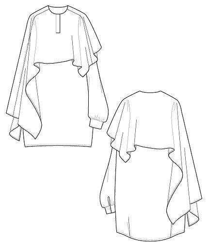 Drape cape blouse
