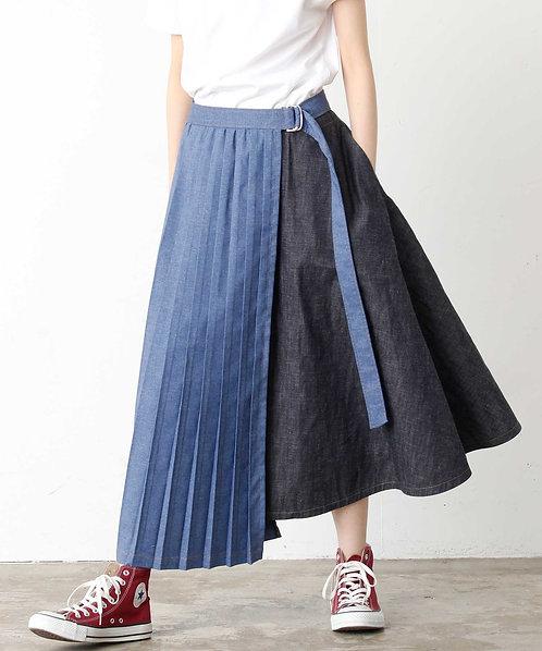 Denim pleated wrap skirt