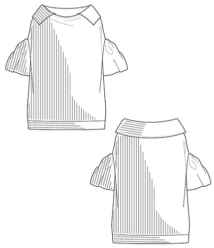 Stripe Cotton typewriter volume sleeve blouse