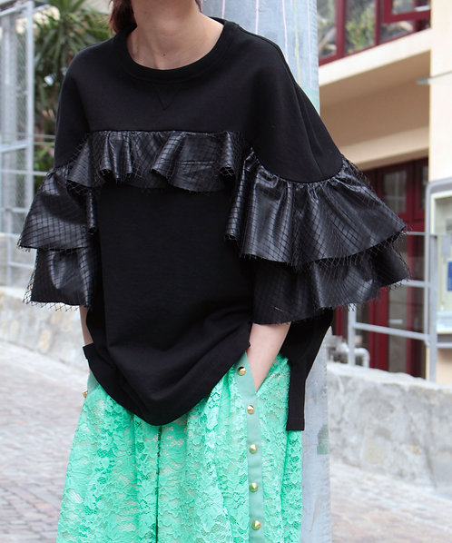 Tulle frilled sweat pullover